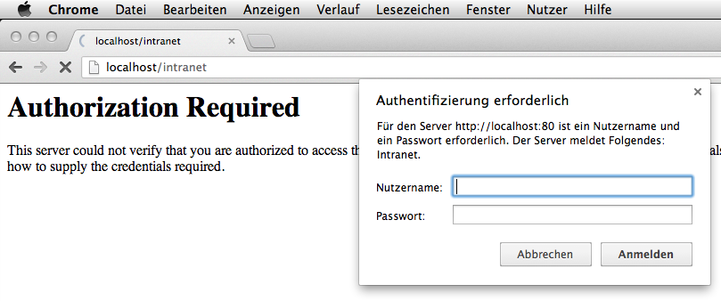 Authentisierungs-Popup in Chrome